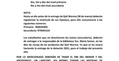 COMUNICADO PARA REPARTO DE QALI WARMA I REMESA-1