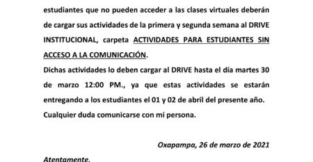 COMUNICADO PARA SUBIR LAS ACTIVIDADES PARA LOS ESTUDIANTES QUE NO TIENEN COMUNICACIÓN